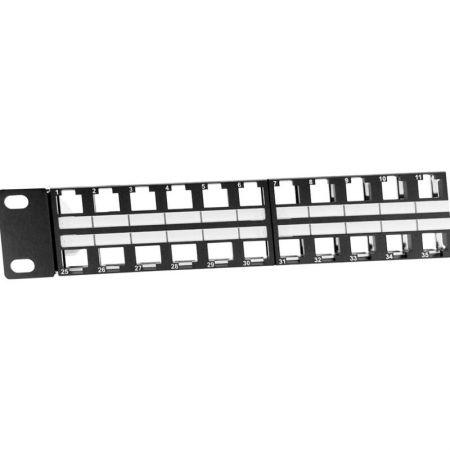 ラベル付きキーストーンジャックパネル1U48ポートSTPタイプ - 1U48ポートシールドブランク RJ45 パネル