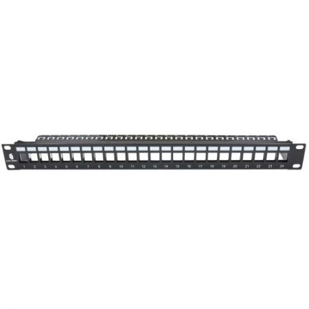 1RU 24 Port FTP Empty Panel WITH Support Bar - The unloaded keystone jack panel is suitable for all 19 inch standard cabient and racks for both copper and fiber cabling solution, supporting shielded twist pair and unshielded twist LAN cabling.