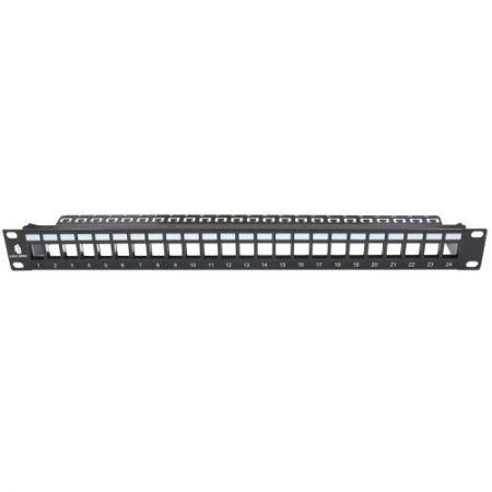 サポートバー付きの1RU24ポートFTP空パネル - 無負荷のキーストーンジャックパネルは、銅線とファイバーの両方のケーブルソリューション用の19インチの標準キャビエントとラックすべてに適しており、シールド付きツイストペアとシールドなしツイストLANケーブルをサポートします。