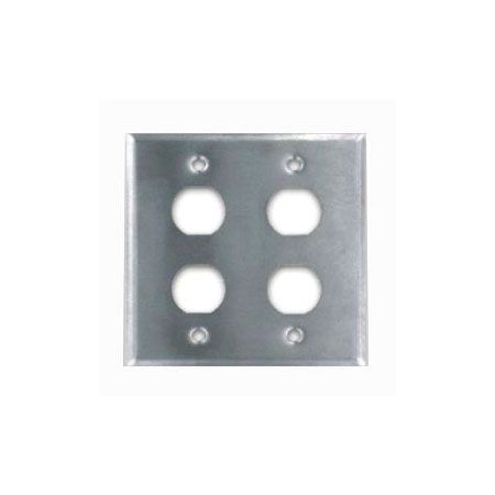 IP44 Stainless Faceplate 4 Port - IP44 Double gang faceplate 4 port, stainless steel
