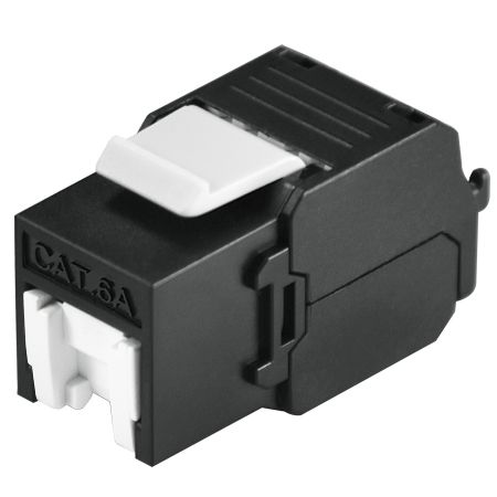 PoE++ Cat6A Black Color Unshielded 500Mhz Tool-Free Keystone Jack with Shutter - Cat.6A UTP RJ45 Keystone jack with shutter