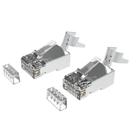 Cat6A  RJ45 STP Connector for Solid Cable - Category 6A Large Diameter 23AWG RJ45 Connector