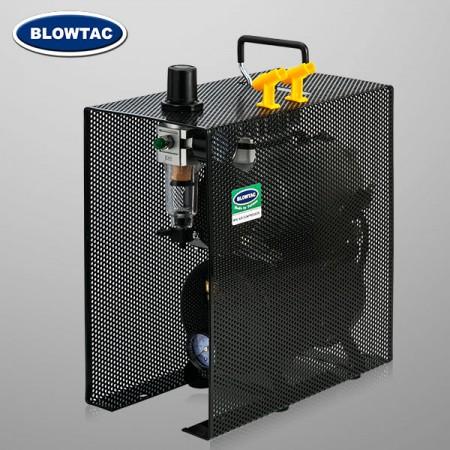 Jednocylindrowa mini sprężarka powietrza ze zbiornikiem i pokrywą