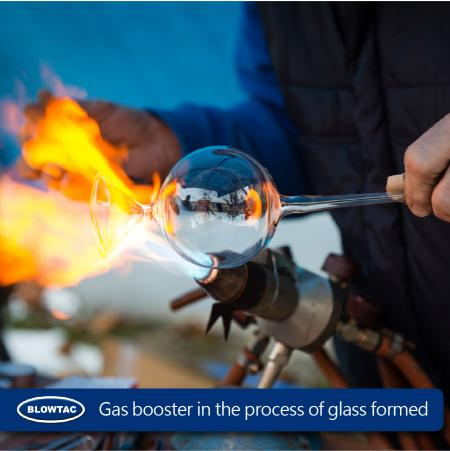 Gas booster in the process of glass formed