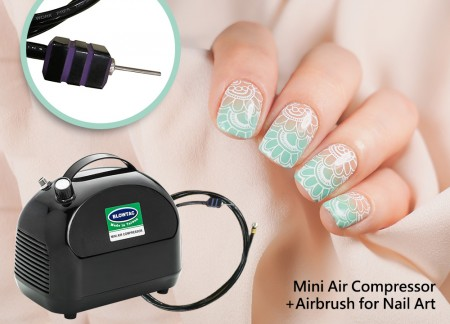 Mini Air Compressor + Airbrush لمسمار الفن