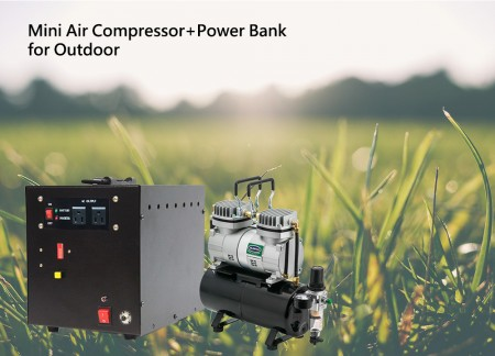 Mini Air Compressor + Power Bank for outdoor