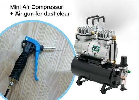 Mini Air Compressor+Air gun for dust clear