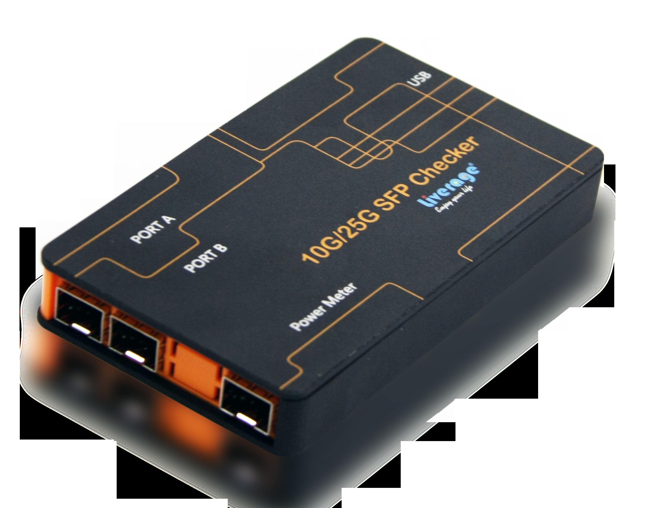 10G SFP + Checker puede medir la potencia óptica, leer la memoria interna EEPROM y monitorear la información del DDM.