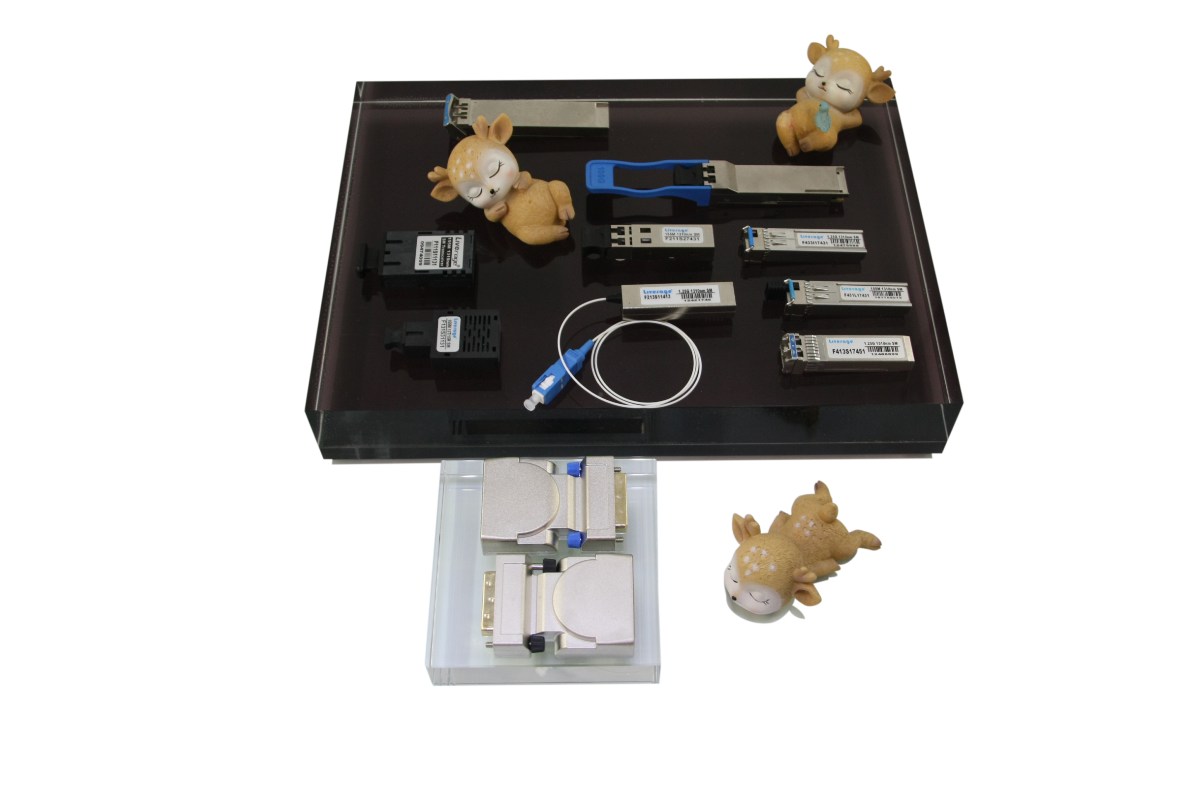 We have several optical transceivers like QSFP28, QSFP+, SFP+, SFF and XFP.