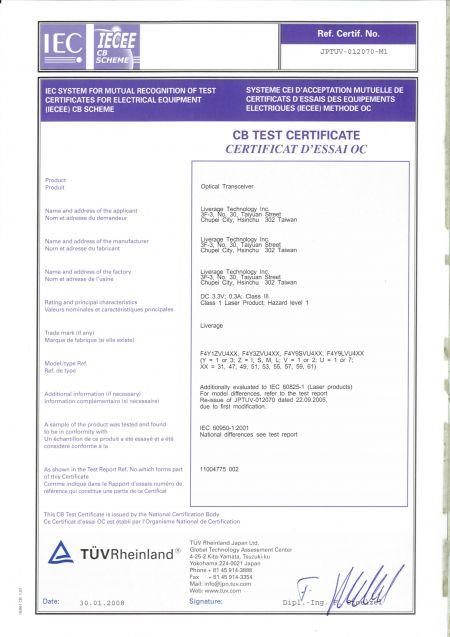Liverage es un fabricante certificado por CB.