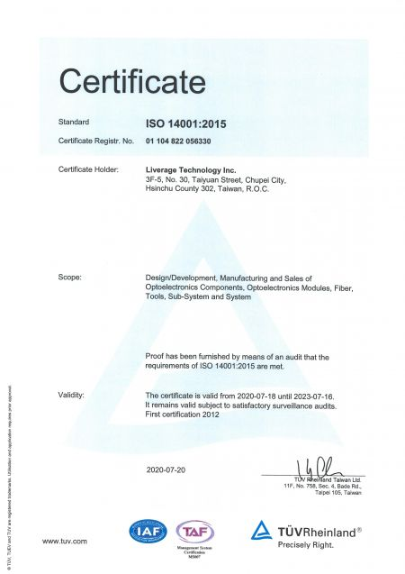 Liverage is a ISO 14001 certified manufacturer.