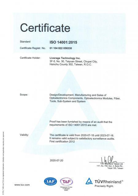 Liverage é um fabricante com certificação ISO 14001.