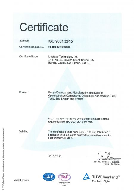 Liverage é um fabricante com certificação ISO 9001.