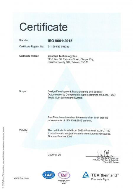 Liverage es un fabricante certificado por ISO 9001.