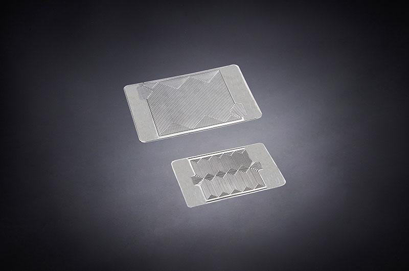Bipolare Metallplatte für Brennstoffzelle.