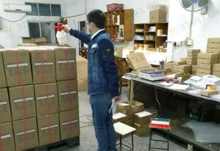 Spray disinfection water on the product outer box before shipment.
