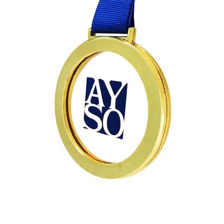 Detachable Zinc Alloy with Acrylic Medal - Metal framed acrylic medal