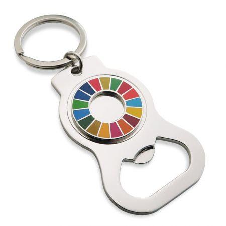 Open Design Bottle Opener Keychain - Custom SDGs imitation hard enamel bottle opener keychain.