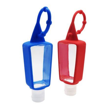 Silicone hand sanitizer holder is perfect for kids to hang on bicycle.