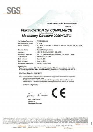 Les machines à rouler les fils Yieh Chen sont conformes à la norme CE.