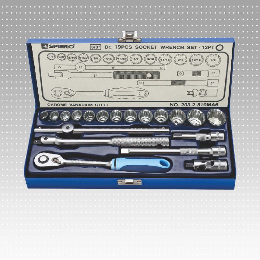 "19 PC 3/8"" socket wrench set -12 PT"