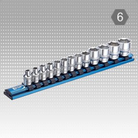 "13 PC 1/4"" Dr. Socket Magnetic Rail Set - 6PT-Metric"