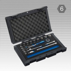 "19 PC 1/4"" Dr. Socket Set W/Swivel Universal Ratchet Wrench - 6PT-Metric - 19 PC 1/4"" Dr. Socket Set W/Swivel Universal Ratchet Wrench - 6PT-Metric"