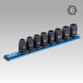 "8 PC 1/2"" Dr. Impact Socket Magnetic Rail Set - 6PT"