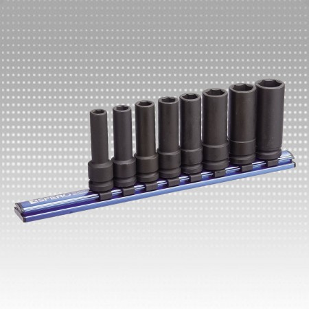 "8PC 1/2""Dr.Deep Impact Socket Magnetic Rail MM Set-6PT"