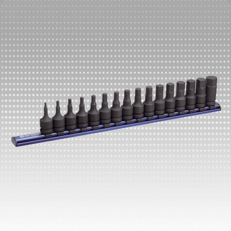 "16PC 1/2""Impact Hex Bit Socket Magnetic Rail Set"