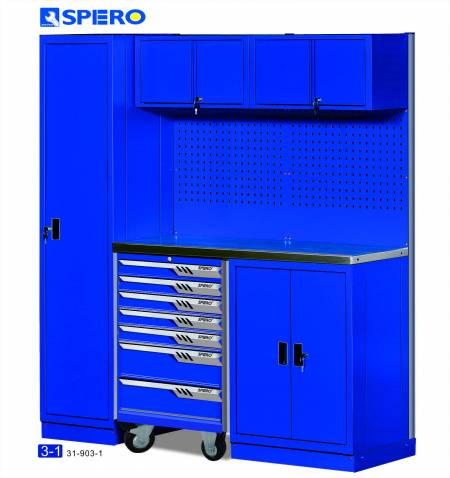 Cabinet OA Design 3 Span Assembly Storage BLUE 3-1 - Cabinet OA Design 3 Span Assembly Storage BLUE 3-1