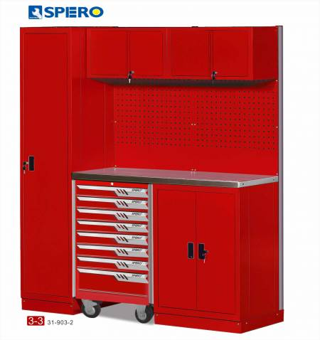 Cabinet OA Design 3 Span Assembly Storage RED 3-3 - Cabinet OA Design 3 Span Assembly Storage RED 3-3