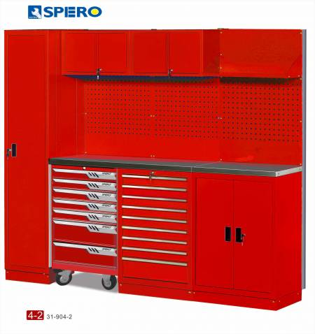Cabinet OA Design 4 Span Assembly Storage RED 4-2 - Cabinet OA Design 4 Span Assembly Storage RED 4-1