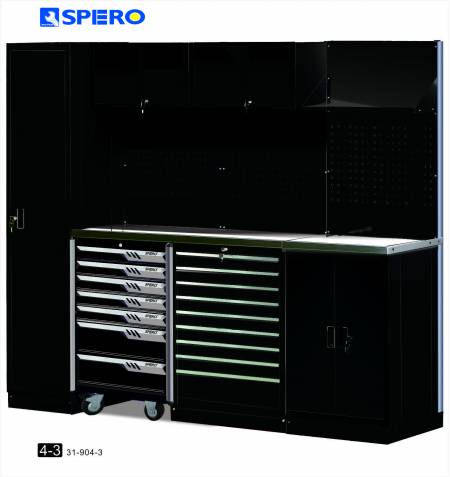 Cabinet OA Design 4 Span Assembly Storage BLACK 4-3 - Cabinet OA Design 4 Span Assembly Storage BLACK 3-1