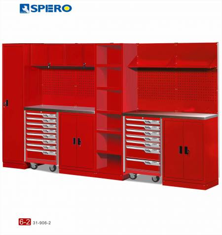 Cabinet OA Design 6 Span Assembly Storage RED 6-2 - Cabinet OA Design 6 Span Assembly Storage RED 6-2