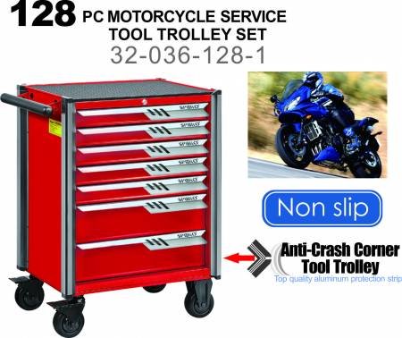 128 PC Motorcycle Service Tool Trolley Set (7-Drawer)