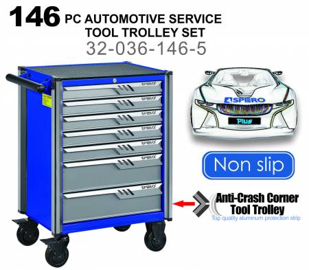 146 PC Automotive Service Tool Trolley Set (7-Drawer) - Complex mechanical structure, SPERO professional-level tools can cope with ease.
