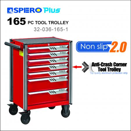 165 PCS Tool Trolley - 7 Drawers Anti-Crash Corner Tool Trolley Red