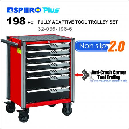 198 PCS FULLY ADAPTIVE TOOL TROLLEY - 7 Drawers Anti-Crash Corner Tool Trolley Red / Black
