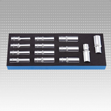 "13PC 1/2"" DR. DEEP SOCKET SET-6PT & METRIC"