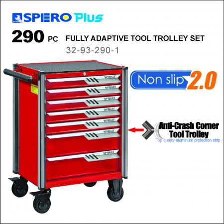 290 PCS FULLY ADAPTIVE TOOL TROLLEY - 7 Drawers Anti-Crash Corner Tool Trolley Red