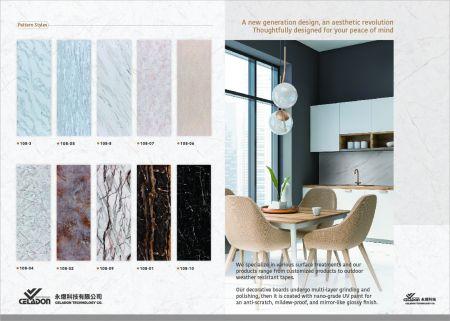 DM Anti-Scratch SPC Mirror Effect Marble Decoration Board