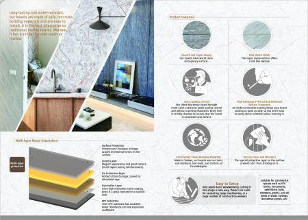 DM ASMMD Anti-Scratch SPC Mirror Effect Marble Decoration Board