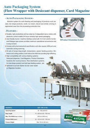 Auto Packaging System (Flow Wrapper with Desiccant Dispenser, Card Magazine and Auto Splicer)