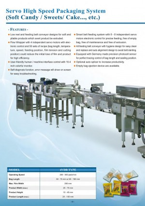 Servo High Speed Packaging System (Soft Candy / Sweets / Cake..., etc.)