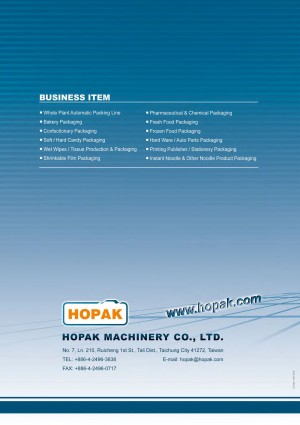 Hopak Machinery General Catalog Cover Back