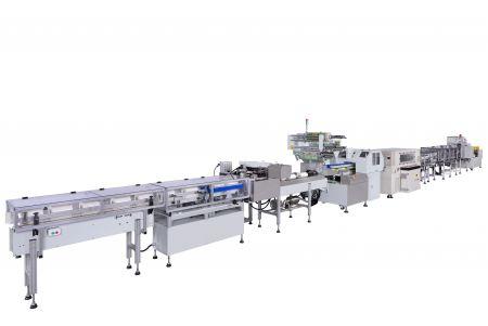 Полностью автоматическая линия для упаковки в термоусадочную пленку со статической герметизацией бумажных полотенец / рулонов бумаги
