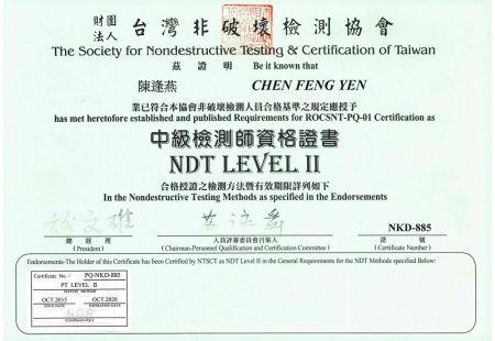 NDT Certificate PT