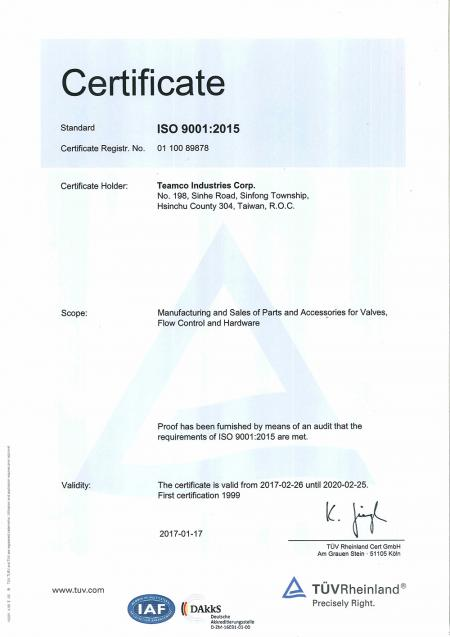 Teamco is ISO 9001:2015 certified.