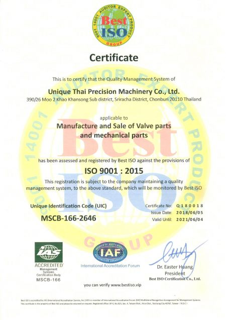 Unique Thai Sand Casting Foundry is ISO 9001: 2015 certified.